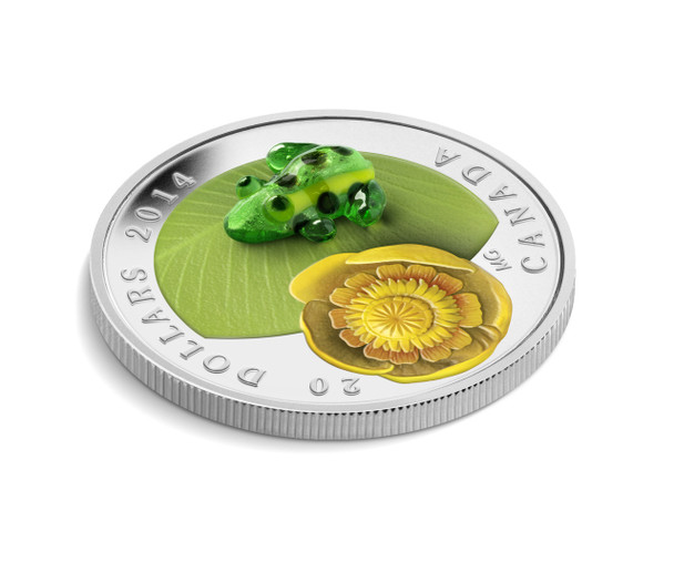 2014 $20 FINE SILVER COIN WATER-LILY AND VENETIAN / MURANO GLASS LEOPARD FROG