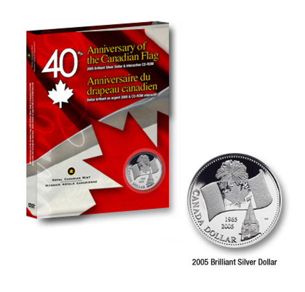 2005 COMMEMORATIVE BRILLIANT UNCIRCULATED SILVER DOLLAR WITH INTERACTIVE  CD-ROM 40TH - ANNIVERSARY OF CANADA FLAG