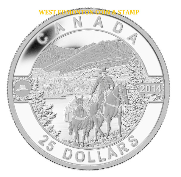2014 $25 FINE SILVER COIN O CANADA - COWBOY IN THE CANADIAN ROCKIES