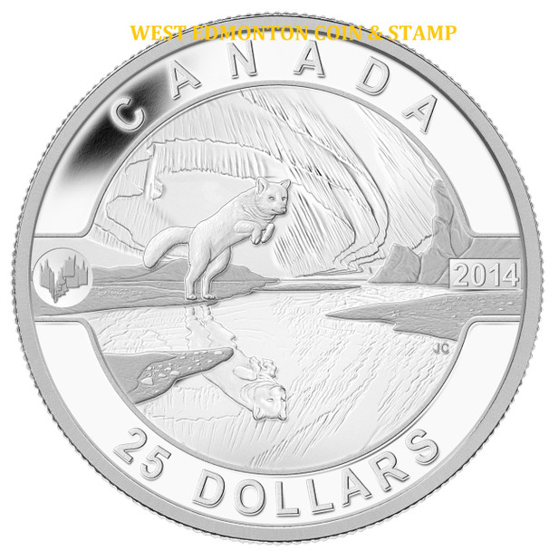 2014 $25 FINE SILVER COIN O CANADA - THE ARCTIC FOX AND THE NORTHERN LIGHTS