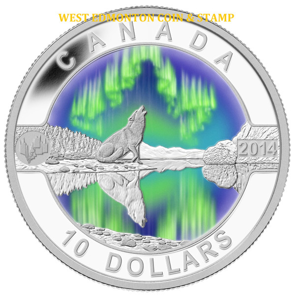 2014 $10 FINE SILVER COIN - O CANADA - THE NORTHERN LIGHTS