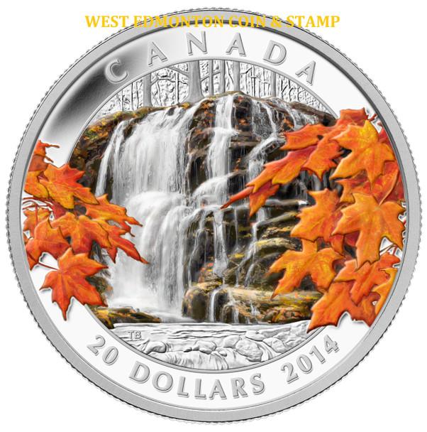 2014 $20 FINE SILVER COIN - AUTUMN FALLS