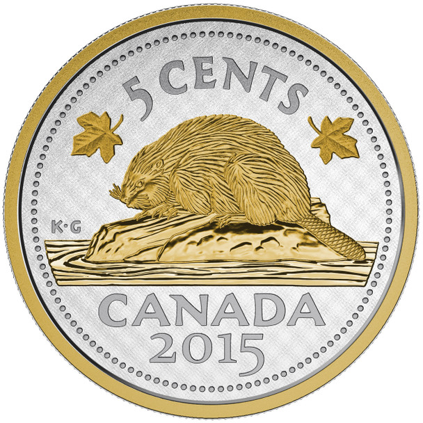 2015 5-CENT FINE SILVER COIN - BIG COIN SERIES - NICKEL