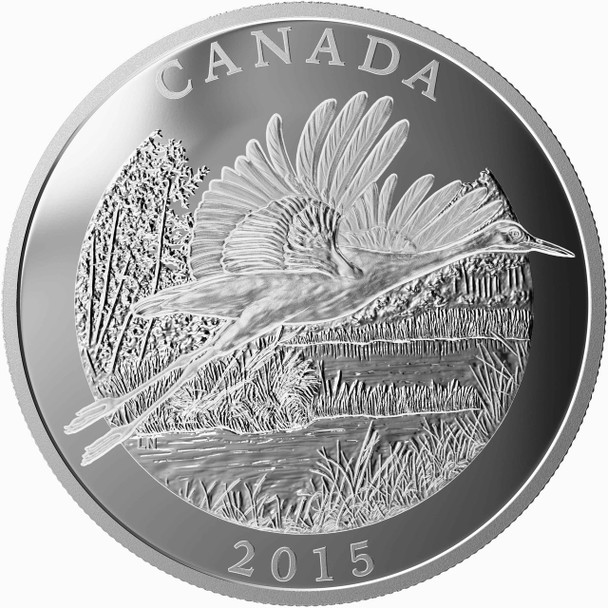 2015 $125 FINE SILVER COIN - CONSERVATION SERIES: THE WHOOPING CRANE