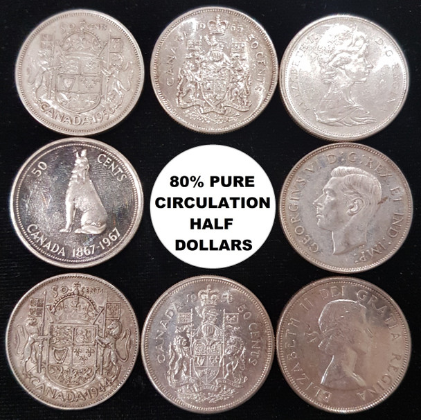 $1 FACE VALUE BAG OF CANADIAN CIRCULATION 80% PURE SILVER COINS (2 HALF DOLLARS)