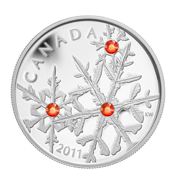 2011 FINE SILVER $20 COIN - HYACINTH RED SMALL CRYSTAL SNOWFLAKE - QUANTITY SOLD: 5660
