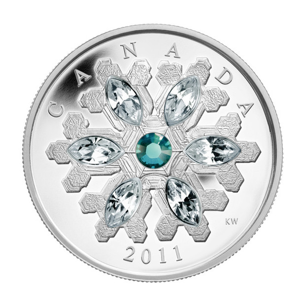 2011 FINE SILVER $20 COIN - CRYSTAL SNOWFLAKE - EMERALD