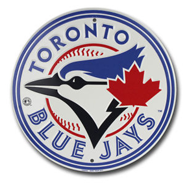 MLB TORONTO BLUE JAYS CIRCULAR METAL EMBOSSED TEAM LOGO SIGN