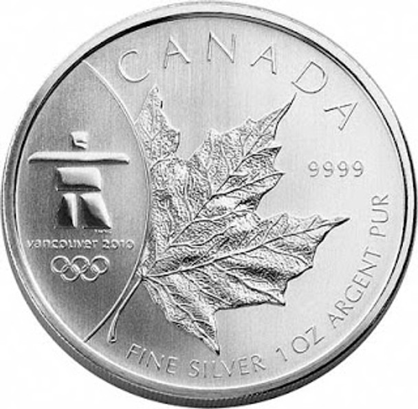 1oz. 2008 CANADIAN INUKSHUK OLYMPIC SILVER MAPLE LEAF COIN