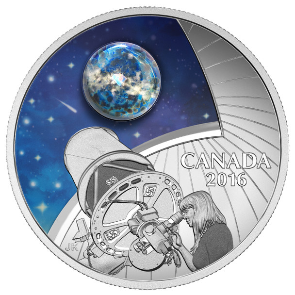 2016 $20 FINE SILVER COIN THE UNIVERSE GLOW-IN-THE-DARK GLASS WITH OPAL