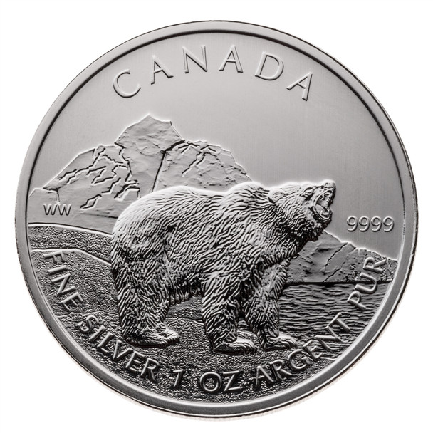1oz. 2011 CANADIAN GRIZZLY BEAR SILVER COIN