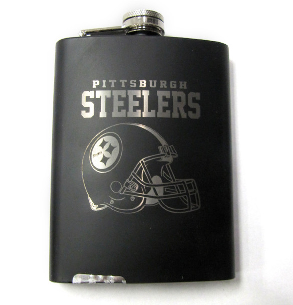 PITTSBURGH STEELERS NFL LASER ENGRAVED STAINLESS STEEL FLASK