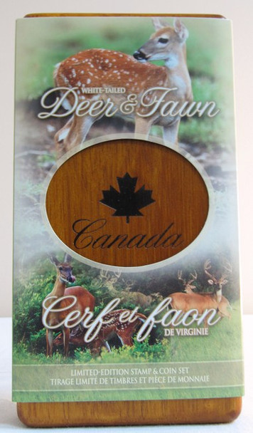 2005 CANADIAN STAMP AND PURE SILVER $5 COIN SET. THE WHITE TALED DEER AND FAWN