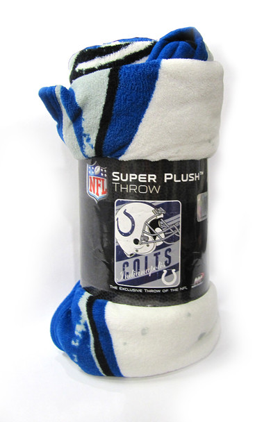 """INDIANAPOLIS COLTS  - NFL FOOTBALL - SUPER PLUSH THROW BLANKET - 46"""" X 60"""""""