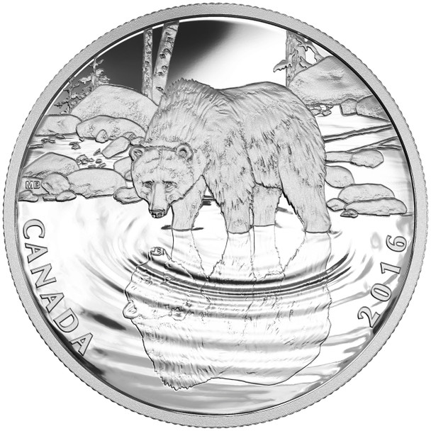 2016 $10 FINE SILVER COIN REFLECTIONS OF WILDLIFE - GRIZZLY BEAR