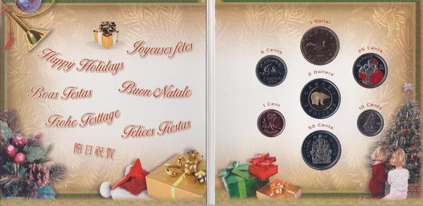 2004 HOLIDAY GIFT SET - RED ENAMEL PAINT SANTA CLAUS QUARTER - FIRST IN SERIES