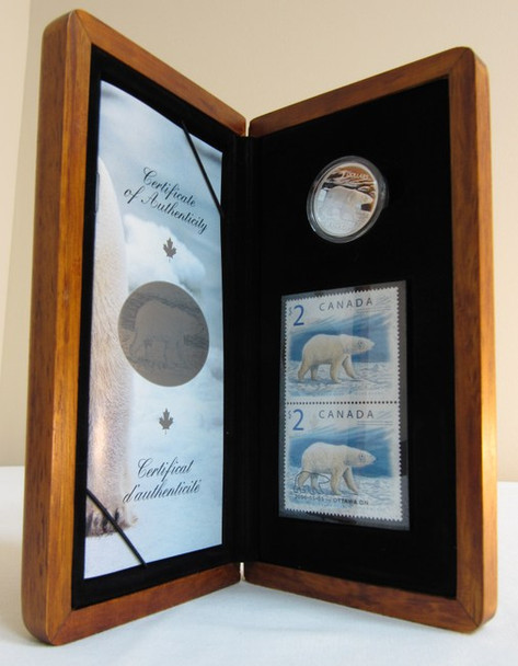 2004 CANADIAN STAMP AND 92.5% STERLING SILVER $2 COIN. THE PROUD POLAR BEAR