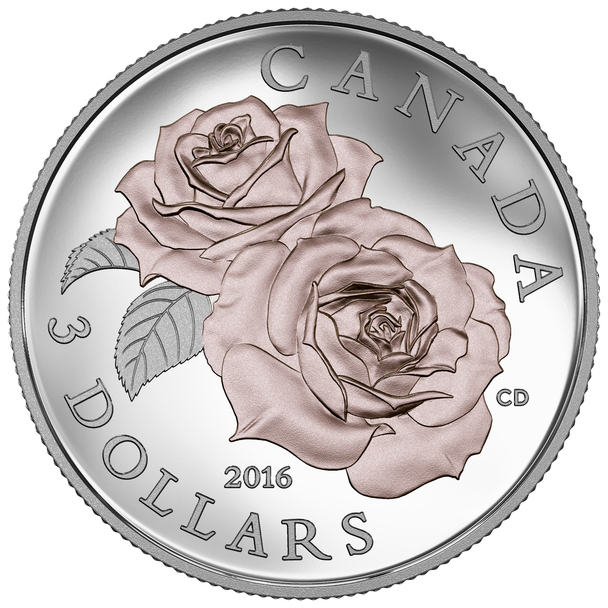 2016 $3 FINE SILVER COIN QUEEN ELIZABETH ROSE