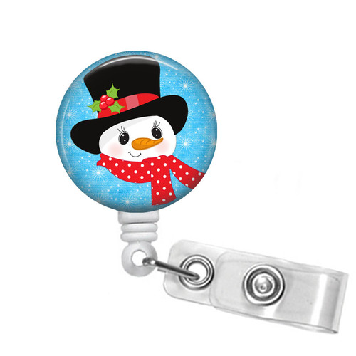 Snowman In a Top Hat Christmas Badge Reel