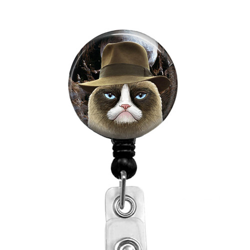 Indiana Jones Grumpy Cat Badge Reel