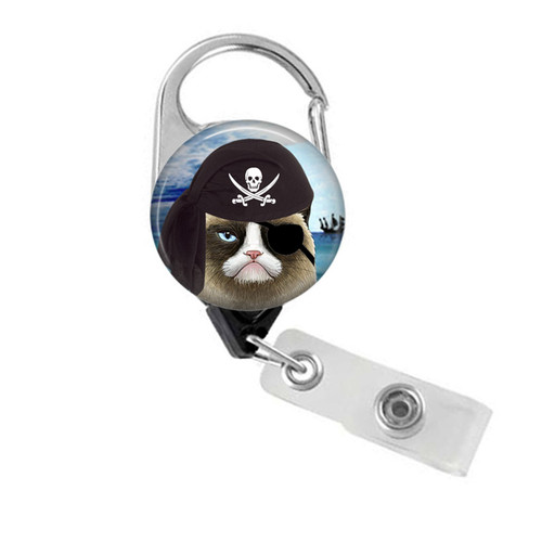 Pirate Grumpy Cat Badge Reel