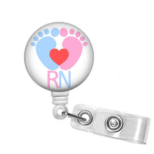 RN Nurse Baby Feet Badge Reel