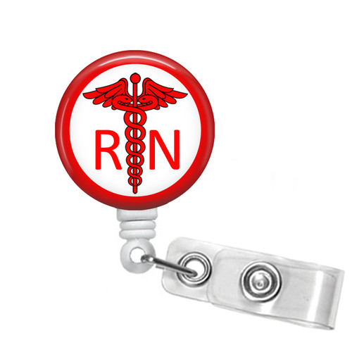 Red Caduceus RN Badge Reel