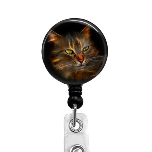 Fractal Cat Badge Reel