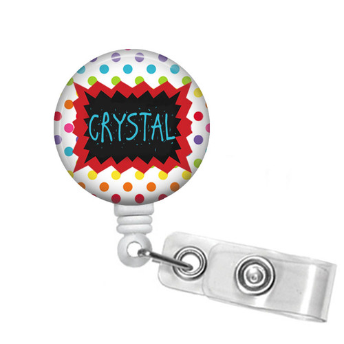 Personalized Multi-Colored Polka Dots Badge Reel