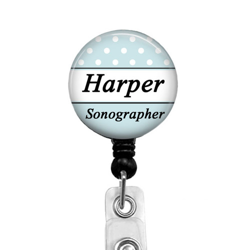 Light Blue and White Personalized Sonographer Badge Reel