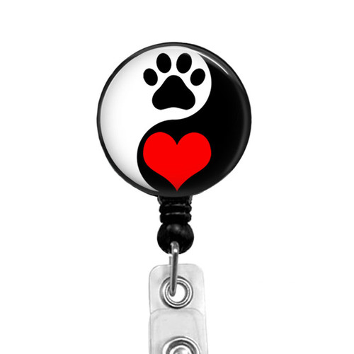 Yin Yang Dog Badge Reel