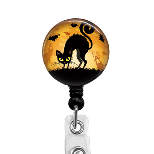 Halloween Cat Badge Reel