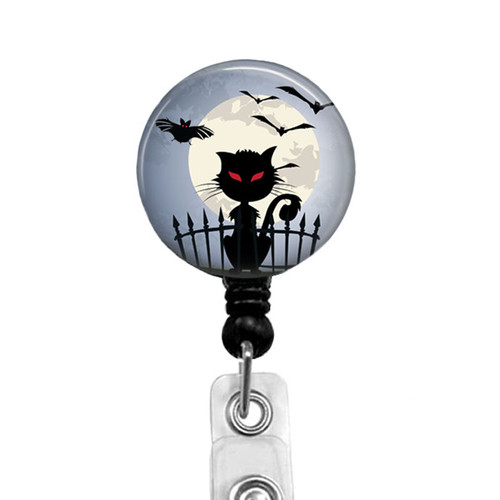 Cat and Bats Halloween Badge Reel