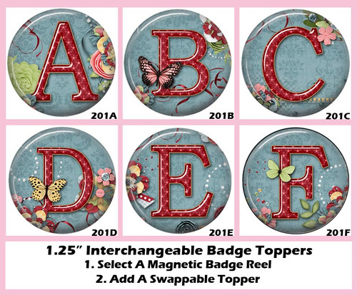 Letters A-F Swappable Toppers - Just Add Badge Reel Boutique's Magnetic Badge Reel
