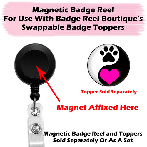 Magnetic Badge Reel for Swappable Badge Toppers by Badge Reel Boutique