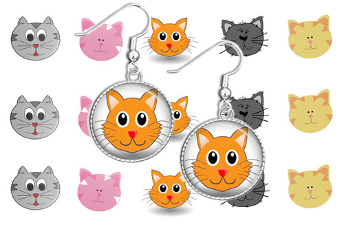 "Cute Cat Faces 1"" Circles"