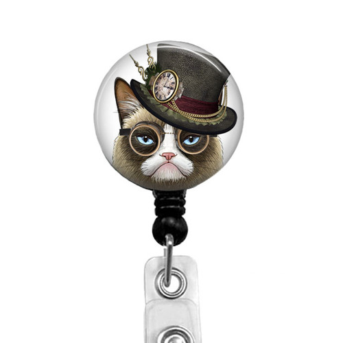 Steampunk Grumpy Cat Badge Reel