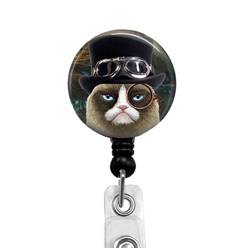 Steampunk Grumpy Cat Badge Reel 332E