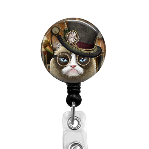 Steampunk Grumpy Cat Badge Reel 332G