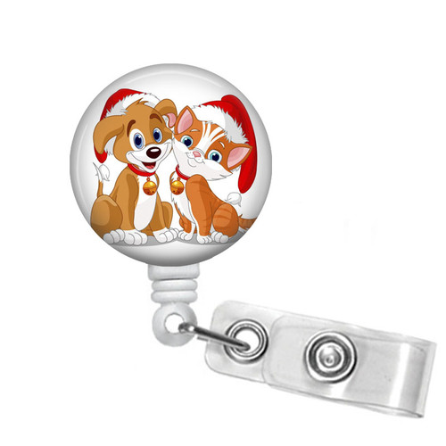 Cute Dog and Cat Christmas Badge Reel