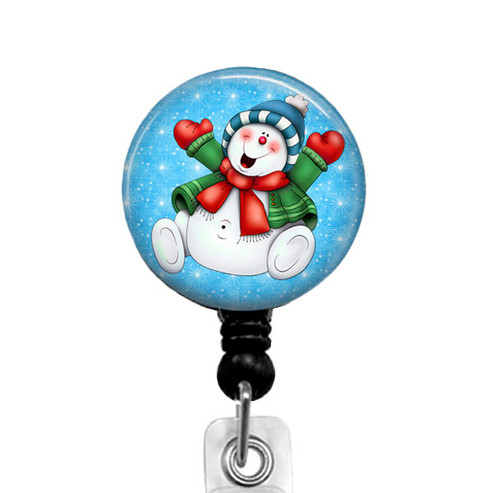 Adorable Christmas Snowman Badge Reel