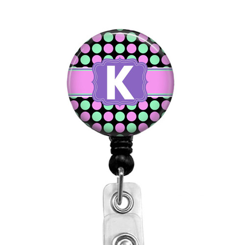 Retractable Badge Reel with Pink and Green Polka Dots with Initial