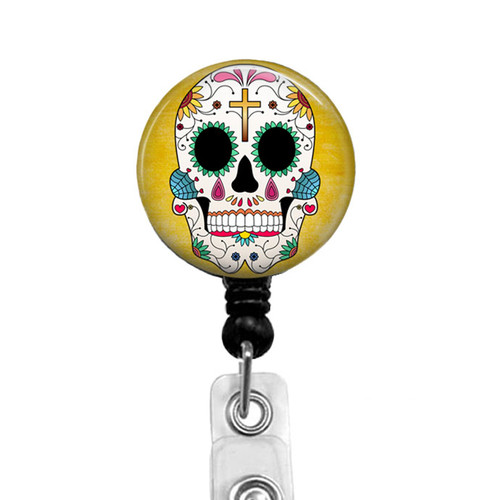 Sugar Skull Retractable Badge Reel