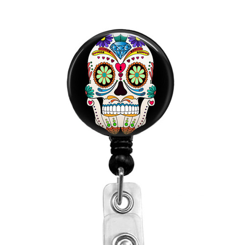 Dia de los Muertos - Day of the Dead Sugar Skull Retractable Badge Reel