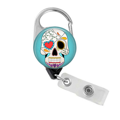 Sugar Skull Carabiner Badge Reel
