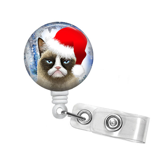 Santa Grumpy Cat Badge Reel