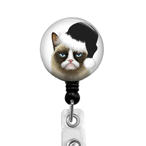 Grumpy Cat Black Christmas Badge Reel