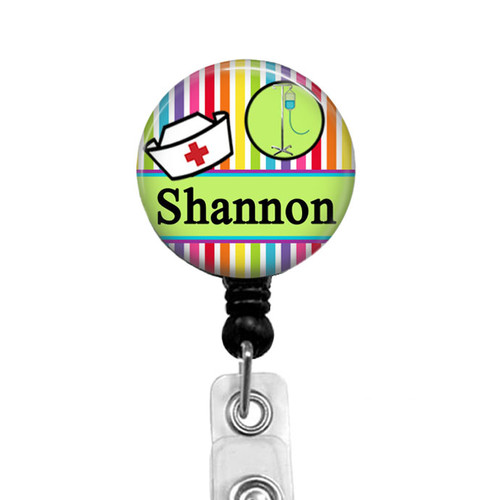 Personalized nurse badge reel on black badge reel from Badge Reel Boutique