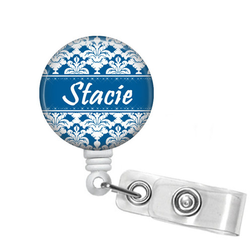 Blue and white damask on white badge reel from Badge Reel Boutique