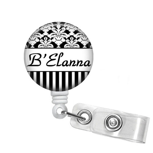 Black and White Damask on a white badge reel from Badge Reel Boutique